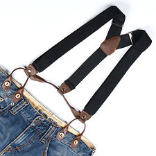 Unisex Suspenders Adjustable Elastic Braces Leather Button Holes Black BD705