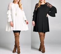 Plus Size Lace Ruffle Bell Sleeve Swing Tunic Dress Boho Babydoll