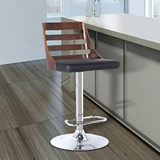 Armen Living Storm Barstool in Chrome finish with Walnut wood and Black Pu up...