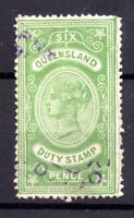 Queensland QV 6d green Stamp Duty Revenue used WS21546