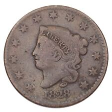 1828 Coronet Head Large Cent 1C Penny (Very Good+, VG+ Condition)