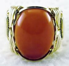 Natural Carnelian Ring 14k Rolled Gold mens or ladies