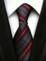 Mens Silk Stripe Necktie Wedding Gift Wine Red Fashion JACQUARD WOVEN Neck Ties
