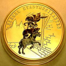 Bremer Stadtmusikanten Brüder Grimm Märchen Ø 40 mm Gold & Farbe veredelt