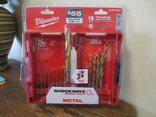 New! Milwaukee SHOCKWAVE Impact Duty 15pc Titanium Drill Bit Set 48-89-4630