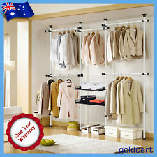 Sturdy 32mm Garment Rack DIY Coat Hanger Clothes Wardrobe 4 Poles 2 Trays