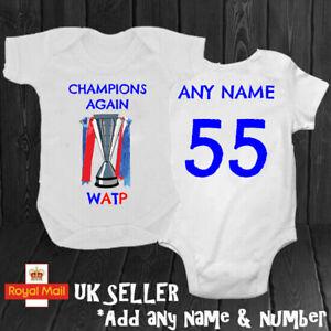 Rangers Champions 55 Daddy Mummy Grandad WATP Personalised Babygrow Romper