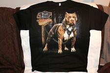RUDE DOGS PITBULL SKULL CHAIN BLACK T-SHIRT ( PRINT IS ON THE BACK )