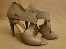 L.A.M.B. Women Shoes Leather Gray Stiletto High Heel Peep Toe Booties Size 10 M