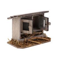 1/12th Miniature Chicken Coop Farm Garden Dollhouse Wooden Vintage Henhouse