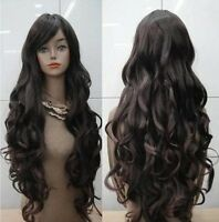 Fashion Women Heat Resistant Long Curly Hair Cosplay Costume Black Full Wig Wigs
