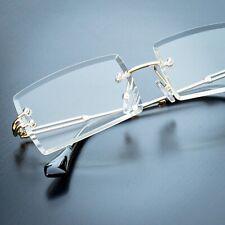 Men's Rectangular Sophisticated Gold Clear Lens Square Rimless Eye Glasses