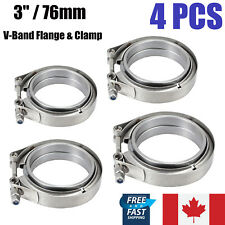"""4PCS 3"""" Inch 76mm Stainless Steel V-Band Clamp & Flat Flange Kit Exhaust Pipe CA"""