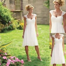 Stock white beach chiffon wedding dresses, boho wedding dress short bride gown