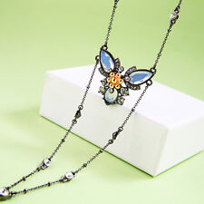 xl01595b 2018 New Fashion Alloy Chain Crystal Butterfly Y Style Choker Necklace