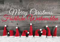 WEIHNACHTS-MÜTZEN: lustige Weihnachtskarten im Set  5,10, 15, 20, 30, 50,100 St.