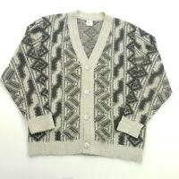 Retro Mens Vintage  Cardigan SMALL  Wool Acrylic Jumper Sweater Knit