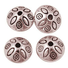 20x Tibetan Alloy Bead Spacer Loose Beads Rondelle w/ Flower Copper Red Jewelry