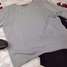 Ellen Tracy Metallic Silver Sweater Silver Stud Dressy Career Party Sz XL (AX10)