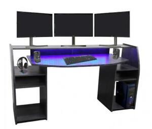 Gaming Tisch inkl. LED RGB Beleuchtung, setup Gamer Ablagen, ULTRA wide TV