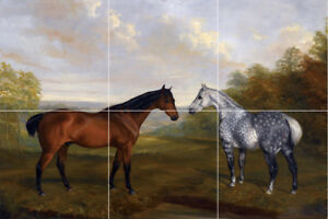 "appaloosa horse chestnut mare ceramic tile mural art painting backsplash 12""x18"""