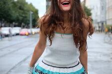 Damen Shirt Top 70er grün creme  S  TRUE VINTAGE 70s Oberteil Stricktop