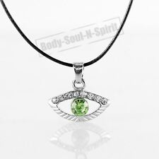 Collar VERDE del ojo malvado cristal Amuleto Colgante Joyería Judaica Kabbalah