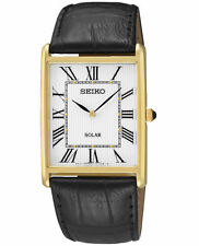 Mens Seiko Solar Square Black Leather Roman Numerals White Dial Watch SUP880