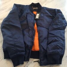 Slate + Stone New Large Mens Bomber Jacket Navy And Orange NWT