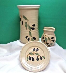 WINE CHILLER 3 PIECE SET Napkin Holder Plate Contemporary POTTERY Olives USA NWT