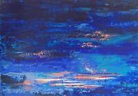 """Peinture Paysage marin Tableau abstrait original signé HZEN """"SOUS LE VENT"""" 92x65"""