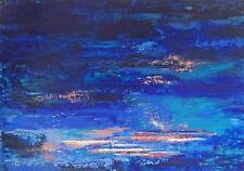 """TABLEAU ABSTRAIT original signé PEINTURE de H.Zen, Paysage """"SOUS LE VENT"""" 92x65"""