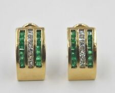 14 kt yellow gold Earrings Emeralds and Diamonds Omega Clips Solid Casting