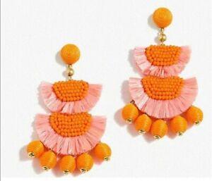 J.Crew Raffia Fringe Beaded Drop Earrings Orange Pink
