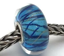 Artisan Lampwork Glass Blue Sparkly Bead Charm (A), New