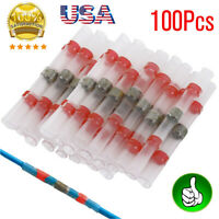 100Pcs 22-16AWG Red Heat Shrink Solder Butt Wire Connectors Terminals Sleeves