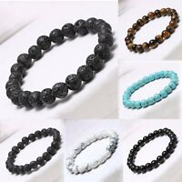 Men's Charm Natural Lava Stone Buddha Lucky Charms Bracelet Gift 8mm Bead Gift
