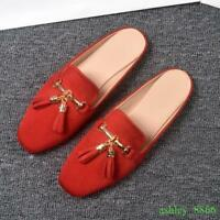 Womens Tassel Slip On Mule Summer Leisure Slippers Flats Retro Square Toes Shoes