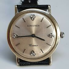 Vintage Longines Cosmo 14 karat White Gold Manual Watch Jewelled Dial