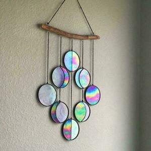 Stained Glass Moon Phase Wall Deco Clear&Rainbow Iridized Hanging Moon x  AU