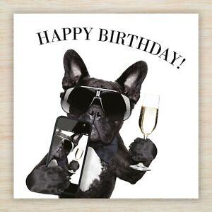 French Bulldog Birthday Celebration Card - Black Frenchie Dog Selfie & Freepost