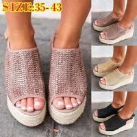 New Womens Summer Platform Sandals Wedges Shoes Heels Shoes Clog Espadrilles HJ