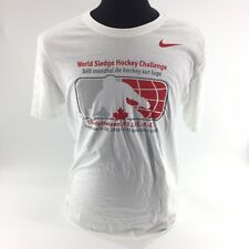 Nike Athletic Cut Tee Shirt World Sledge Hockey Canada Sz Large White Crew S5A
