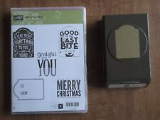 Stampin Up RETIRED Stamp Set Merry Everything Note Tag Punch EUC