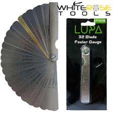 LUPA Feeler Gauge Blade Leaf Dual Marked Metric Imperial Brass 32 Blades