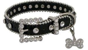 Showman Couture XLARGE BLACK Leather Dog Collar w/ Rhinestones & Bone Charm NEW