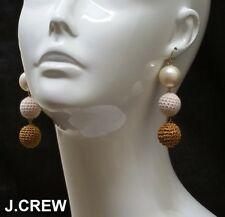 New J.CREW crochet bead pearl drop earrings knit ball dangle pink ivory gold nr