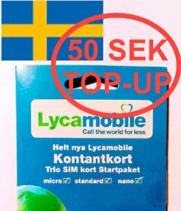 50 SEK CREDIT BALANCE TOP-UP for LYCAMOBILE SWEDEN SIM CARD (NO CARD INCLUDED)