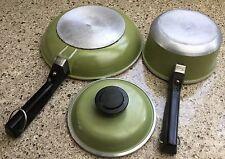 Vintage Cast Aluminum Sauce Pan Pot With Lid,  Frying Pan Avocado Green