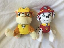 PAW PATROL NICK JR Stuffed Animal Plush Toys MARSHALL & RUBBLE Dogs Puppies EUC